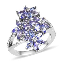 Tanzanite and Cambodian White Zircon Floral Ring in Platinum Plated Sterling Silver 1.75 Ct