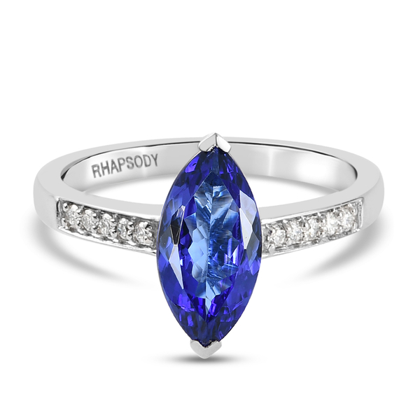 RHAPSODY 950 Platinum AAAA Tanzanite and Diamond (VS/ E-F) Ring 2.09 Ct.