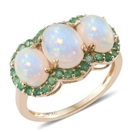 9K Yellow Gold AAA Ethiopian Welo Opal (Ovl 1.15 Ct), Brazilian Emerald Ring 3.150 Ct.