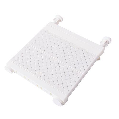Set of 3 Adjustable Storage Racks (W: 24cm, L: 29-46cm) - White