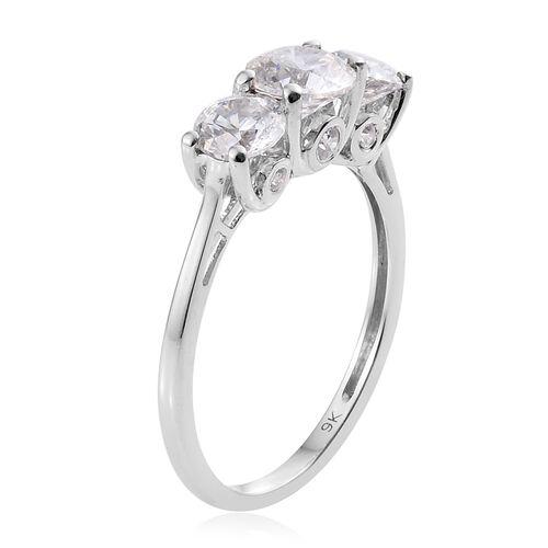 J Francis - 9K White Gold (Rnd) Ring Made with SWAROVSKI ZIRCONIA