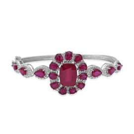 22.42 Ct African Ruby and White Zircon Floral Bangle in Rhodium Plated Sterling Silver 16.6 Grams