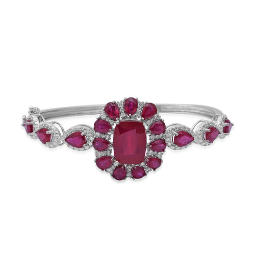 22.42 Ct African Ruby and White Zircon Floral Bangle in Rhodium Plated Sterling Silver 15.6 Grams