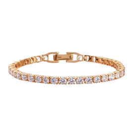 J Francis - 14K Gold Overlay Sterling Silver Tennis Bracelet (Size 7)  Made with SWAROVSKI ZIRCONIA