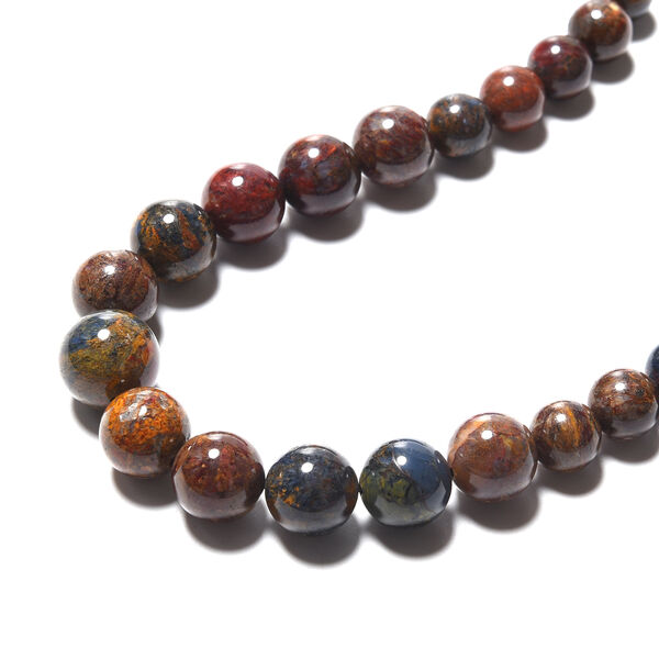 Namibian Pietersite Beads Necklace (Size 20) with Magnetic Lock in Rhodium Overlay Sterling Silver 482.00 Ct.