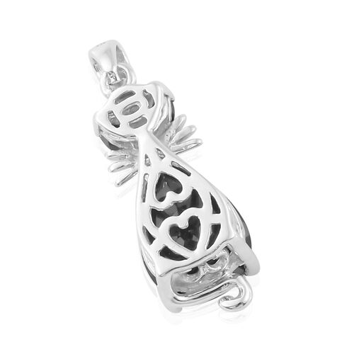 Boi Ploi Black Spinel Cat Pendant in Platinum Plated Silver 3.25 Ct