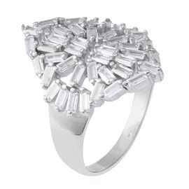 ELANZA Simulated Diamond (Bgt) Ring in Rhodium Overlay Sterling Silver
