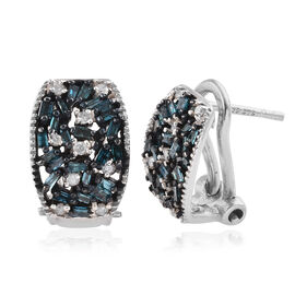 Blue Diamond (Bgt), White Diamond Earrings (with Omega Clip) in Platinum Overlay Sterling Silver 0.5