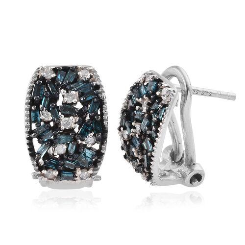 Blue Diamond (Bgt), White Diamond Earrings (with Omega Clip) in Platinum Overlay Sterling Silver 0.5