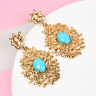 Arizona Sleeping Beauty Turquoise Vine Drop Earrings (with Push Back) in 14K Gold Overlay Sterling Silver 2.00 Ct, Silver wt 5.80 Gms