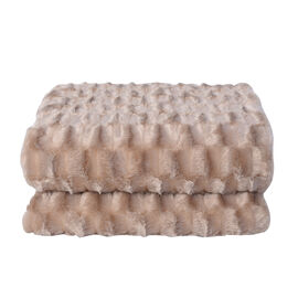 Embossed Checker Pattern Faux Fur Sherpa Blanket (150x200cm) - Light Brown Colour