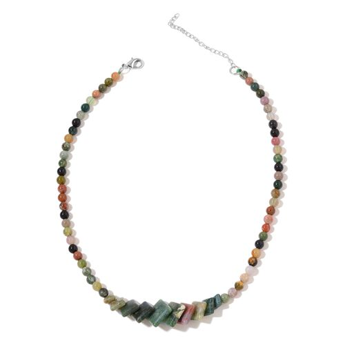 One Time Deal-Indian Agate Necklace (Size 18) in Silver Plated 166.500 Ct.