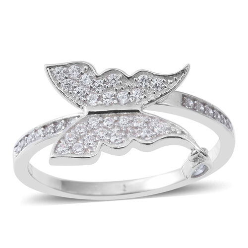 ELANZA Simulated Diamond (Pear) Butterfly Ring in Rhodium Overlay Sterling Silver