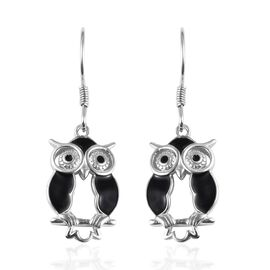 Platinum Overlay Sterling Silver Enamelled Owl Hook Earrings