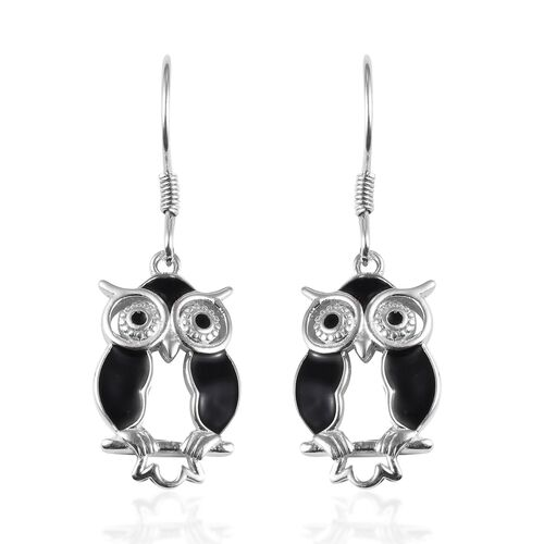 Platinum Overlay Sterling Silver Enamelled Owl Hook Earrings