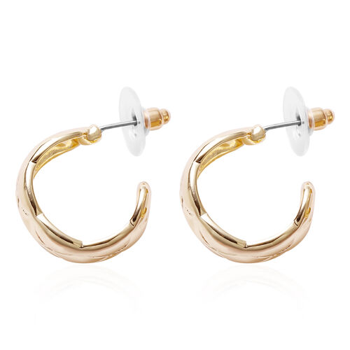J-Hoop Earrings (with Push Back) in Yellow Gold Tone