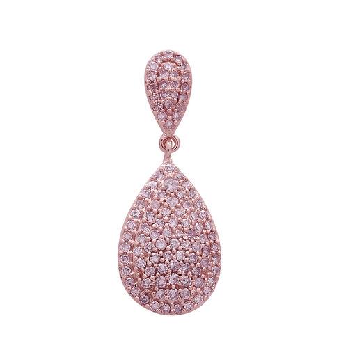 Biggest Clearance Deal-9K Rose Gold Natural Pink Diamond (Rnd) Tear Drop Pendant 0.500 Ct. Number of Diamonds 102