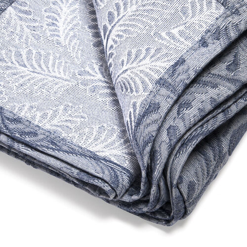 Egyptian Cotton King Size Pique Bedcover with Leaf Motif, Made in Portugal (Size 240X260 cm) - Blue