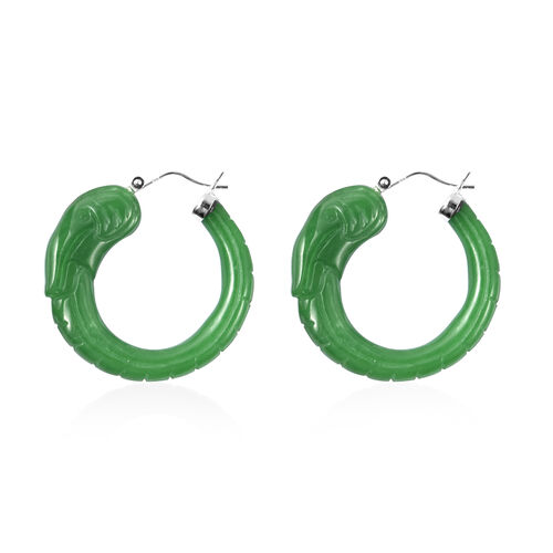 Carved Green Jade Elephant Earrings (with Clasp) in Rhodium Overlay Sterling Silver 77.35 Ct.