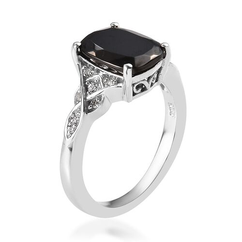 Elite Shungite (Cush 10x8 mm), Natural Cambodian Zircon Ring in Platinum Overlay Sterling Silver 2.00 Ct.