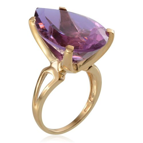Lavender Alexite (Pear) Solitaire Ring in 14K Gold Overlay Sterling Silver 22.750 Ct.