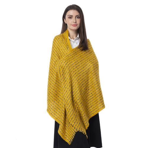 Designer Inspired- Mustard Colour Stripe Pattern Blanket Shawl (Size 180x65 Cm)