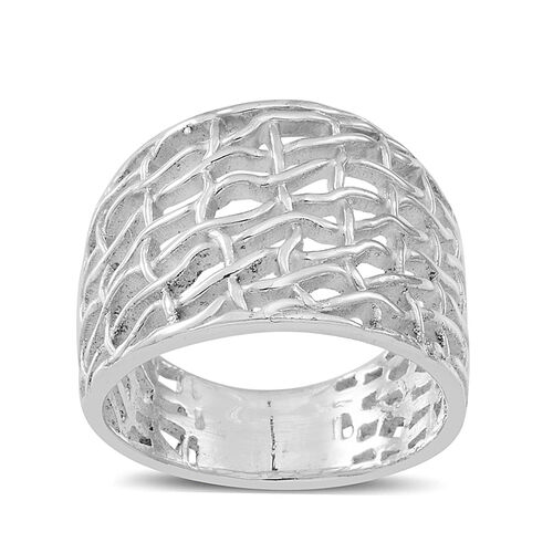 Thai Sterling Silver Weave Net Design Ring, Silver wt 7.08 Gms.