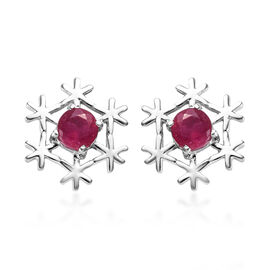 African Ruby (Rnd) Earrings (with Push Back) in Platinum Overlay Sterling Silver 1.25 Ct.