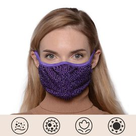 Rhinestone Face Cover with Filter Pocket and Adjustable Ear Button - Purple