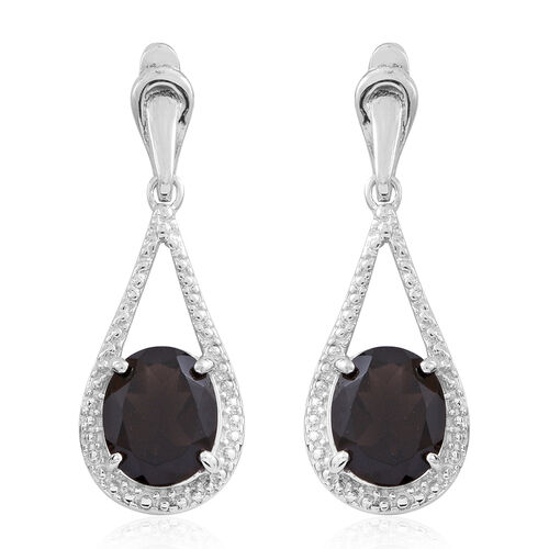 Brazilian Smoky Quartz (Rnd) Teardrop Earrings (with Push Back) in Rhodium Plated Sterling Silver 6.500 Ct.