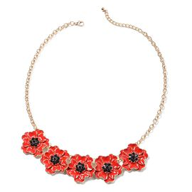 TJC Poppy Design - Black Austrian Crystal (Rnd) Enamelled Poppy Flower Necklace (Size 19.5 with 2.5
