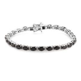GP Elite Shungite (Ovl), Natural Cambodian Zircon and Blue Sapphire Tennis Bracelet (Size 7.5) in Pl