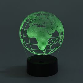 Multi Colour LED Acrylic 3D Illusion Light with Black Base - The Earth (Size 14x10x19 Cm) (3xAA Batt