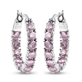 One Time Dea - Simulated Pink Diamond Inside Out Hoop Earrings (with Clasp) in  Stainless Steel