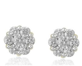 9K Yellow Gold SGL Certified Diamond (Rnd) (I3/G-H) Pressure Set Floral Earrings (with Push Back) 1.