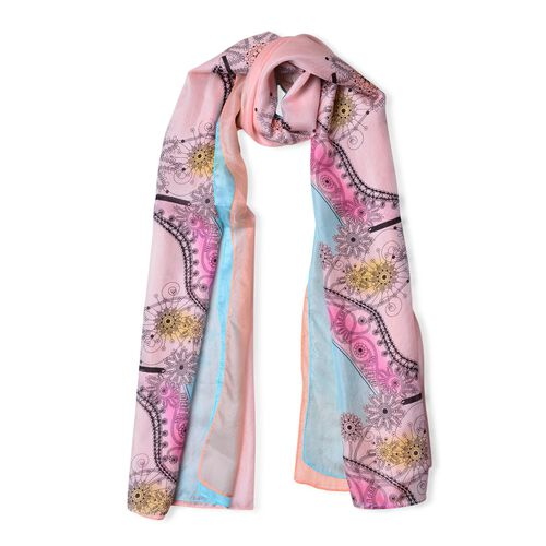 100% Silk Pink, Blue and Multi Colour Floral and Heels Printed Scarf (Size 180X110 Cm)