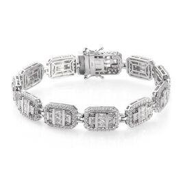 J Francis Platinum Overlay Sterling Silver Bracelet (Size 7.5) Made with SWAROVSKI ZIRCONIA