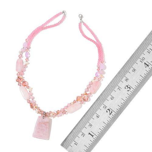 Rose Quartz, Simulated Pink Sapphire, White Shell and Multi Colour Beads Necklace (Size 29 with 2.50 inch Extender) in Silver Bond