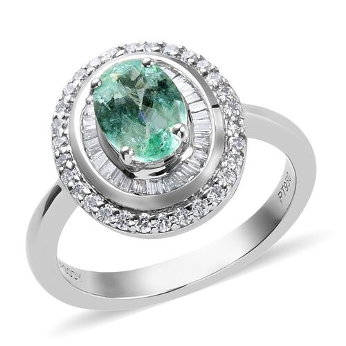RHAPSODY 1.34 Ct AAAA Mozambique Paraiba Tourmaline and Diamond Halo Ring in 950 Platinum VS EF
