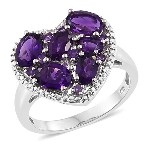 Amethyst (Ovl) Heart Ring in Platinum Overlay Sterling Silver 3.250 Ct.