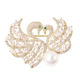 Simulated Diamond, Simulated Emerald and White Shell Pearl Swan Couple Brooch in Gold Tone