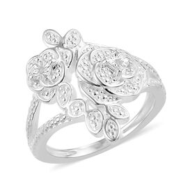 Design inspired- Diamond (Rnd) Floral Ring (Size P) in Sterling Silver, Silver wt 4.12 Gms