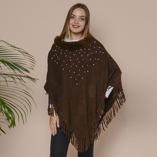 Knit Poncho with Faux Fur Collar, Simulated Pearls and Fringe Detail (Size 99x81+10cm) - Chocolate B