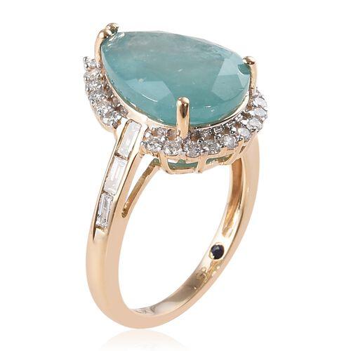GP - 9K Yellow Gold AAA Grandidierite (Pear 14x10 mm), Diamond and Blue Sapphire Ring 5.75 Ct.