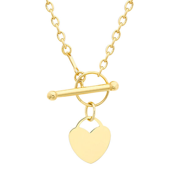 Close Out Deal Heart Charm T Bar Necklace in 9K Yellow Gold 16 Inch