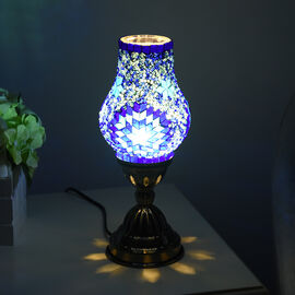 Handmade Turkish Blue Glass Mosaic Table Lamp with Bronze Base (Size 28x10cm)