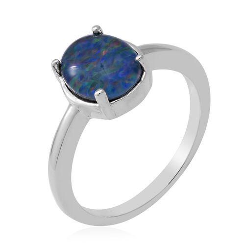 One Time Deal- Rare Size AAA Boulder Opal (Ovl 10x8mm) Ring in Sterling Silver 1.85 Ct.