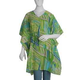 100% Cotton Green Colour Abstract Pattern Poncho (Size 100x90 Cm)