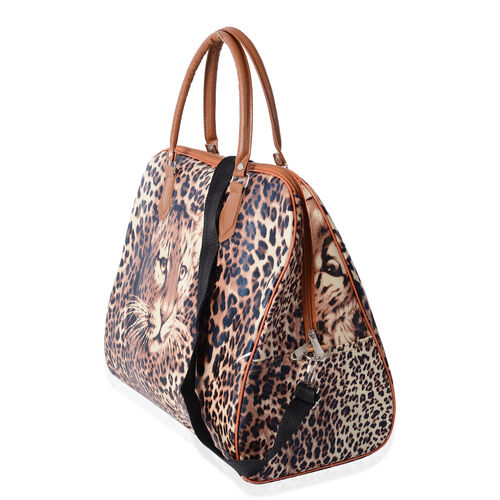 Deal Of Day Super Chic Leopard Pattern Water Resistant Weekend Bag with Removable and Adjustable Shoulder Strap (Size 42.5x36x21 Cm)