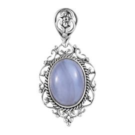 One Time Mega Deal-Artisan Crafted Blue Lace Agate (Ovl 16x12 mm) Pendant in Sterling Silver 11.490